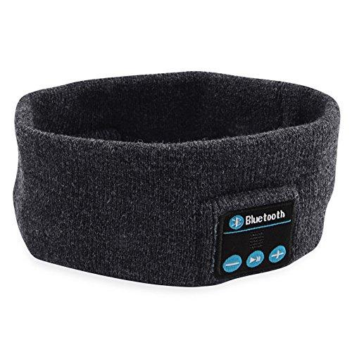 SUNNIOR Wireless Bluetooth Musik Stirnband Handfree Call Strickmütze mit abnehmbaren Headset und Stereo-Lautsprecher und Mikrofon für das Laufen Skifahren Skaten Wandern, Weihnachtsgeschenke-Tief Grau