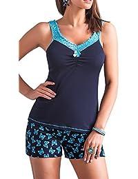 r-dessous exclusives Damen Nachtwäsche Viskose Pyjama kurzer Schlafanzug Top mit Shorts Shorty blau