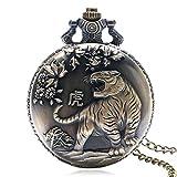 Orologio da tasca, da uomo, retro Tiger design bronzo orologio da tasca al quarzo, regalo per uomini