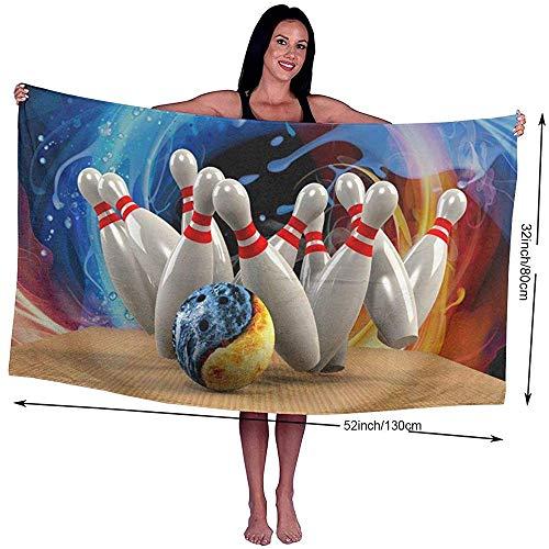 NA Badetuch Viele Bowling gedruckt Mikrofaser Strand/Pool/Badetuch für Erwachsene Einheitsgröße, superweich, hochsaugfähig