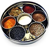 SKI Stainless Steel Spice Box Indian Masala Dabba With 7 Spice Containers, Spoon And Single Lid Keeps Spices Fresh