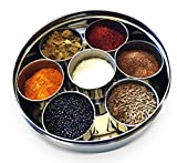 #6: SKI Stainless Steel Spice Box Indian Masala Dabba with 7 Spice Containers, Spoon and Single Lid Keeps Spices Fresh