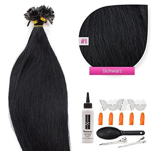 Keratin Bonding Hair Extensions 100% Remy Echthaar Haarverlängerung (#1 Schwarz - 100 Strähnen 1 g - 60 cm) U-Tip Extention Remy Qualität by Glamxtensions