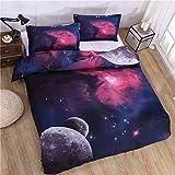 Stilshine 3D Universo Galaxia Scape - Juego de Cama, Funda de Edredón (150 cm x 200 cm) y 1 Fundas de Almohada (50 cm x 75 cm) (Estilo 2)
