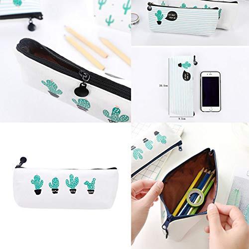 WeiMay Set di 3 astucci porta penne/cosmetici, motivo cactus - 7
