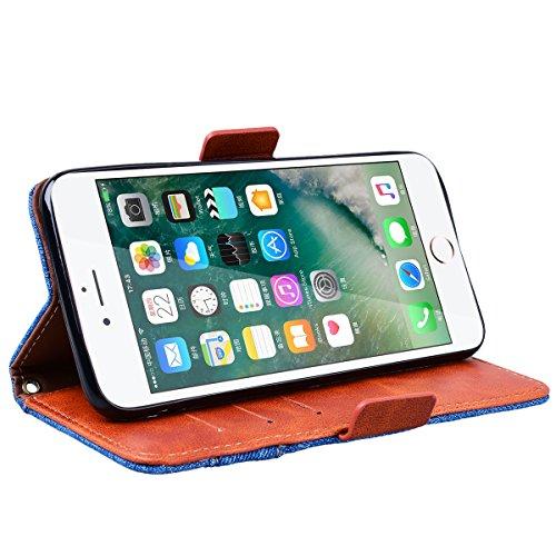 Yokata Cover per iPhone 7 Plus Tessuto Denim Premium Leather Custodia in PU Pelle con TPU Cassa Interna e Supporto Funzione Flip Wallet Case Bumper Book Style Stand Caso con Slot per Scheda Protezione Blu