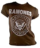 Amplified Damen Lady T-Shirt Stonewash Braun Chocolate Brown Official THE RAMONES Merchandise Hey Ho Let's Go You Logo Special Edition ViP Rock Star Vintage Nähte Aussen Löcher Destroyed S 36