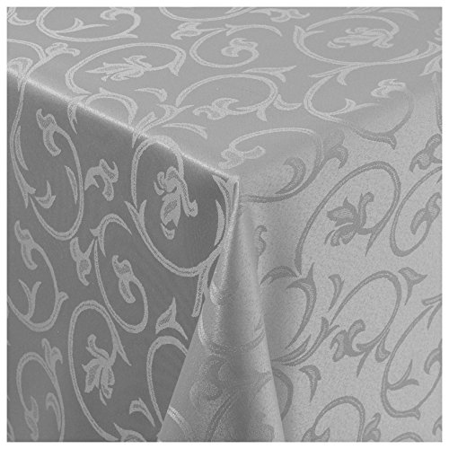 Tischdecke Damast Stoff -Barock Design Tulpen- Tischtuch Bügelarm von Moderno® |eckig 130x280 cm in Grau - mit umgenähtem Rand und Öko Tex Zertifikat - Premium Qualität - Eckig Oval Rund Größe und Farbe wählbar (Tischdecken Esstisch)