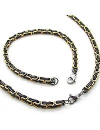 Set cadena Rey, Pulsera de cadena y collar de acero inoxidable encintado fuerte color: negro or mix 60 cm/ 22 cm