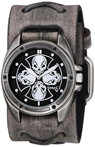 Nemesis 909FXB-KK - Reloj de pulsera hombre, piel, color Gris