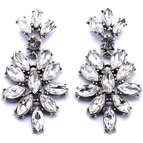 Orecchini di cristallo Faux Floral goccia, floreale di cristallo orecchini di goccia di Donne,