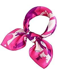 25ce1791920 Evedaily - Foulard Écharpe Carré En Soie Imprimé Élégant Mode Silk Square  Scarves Pour Femme 53cm