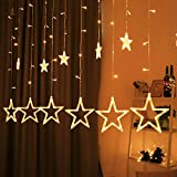 Hemito 2.5 m long, 8 Mode Remote, 12 Golden Stars with 138 LEDs Waterproof Linkable String Light for Decoration (Warm White)