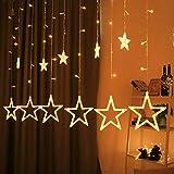 Hemito Star Curtain LED Light, 2.5m long, 8 Mode Remote, 12 Golden Stars