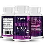 Biotina Plus 10000mcg | Biotina per capelli con zinco aggiunto | 120 compresse per 4 mesi di trattamento | Garanzia 30 giorni soddisfatti o rimborsati