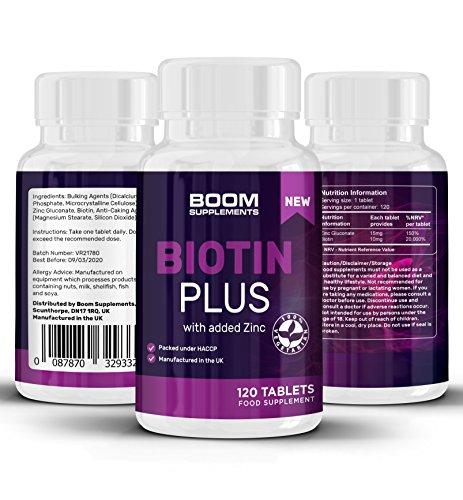 BIOTIN 10000mcg Plus Tablets | 120Biotin Tabletten für Haar mit zusätzlichen Zink | Haarwachstum Tabletten für Frauen | Full 30Tage Geld Zurück Garantie | hergestellt in Großbritannien