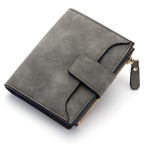 Yueling Retro Matte Frauen Brieftasche Haspe Zipper Brieftaschen Weiblichen Geldbörse Pu-Leder Dame Geld Tasche Candy Farbe Kartenhalter deep Grey (Fossil Tasche Slim Brieftasche)