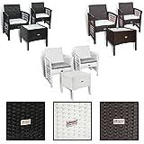 Polyrattan Sitzgruppe mit 2 Stühlen (Tisch 50x50, Weiß)