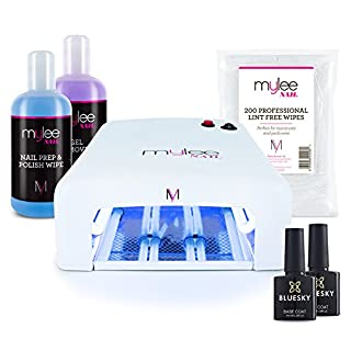 Mylee 36W UV lamp with Bluesky Top + Base Coat and Mylee Prep + Wipe & remover + Lint Free Wipes