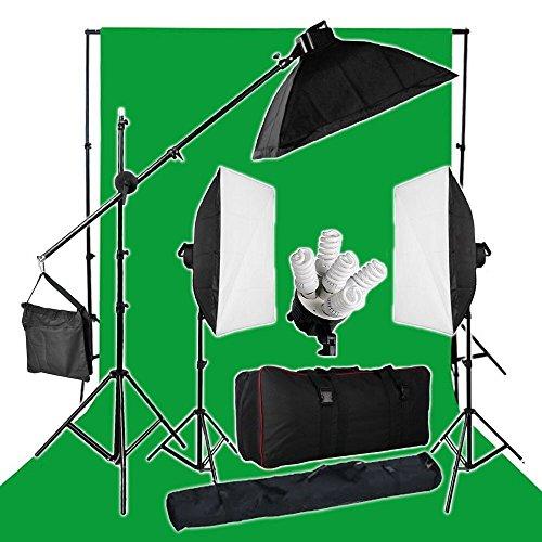 BPS Stuido Pro kit-2850W 5-lampada-testa Softbox continuo illuminazione Kit illuminazione + 3M * 6M cotone mussola verde Chroma key sullo sfondo + 2,8 x3m Sfondo Stand