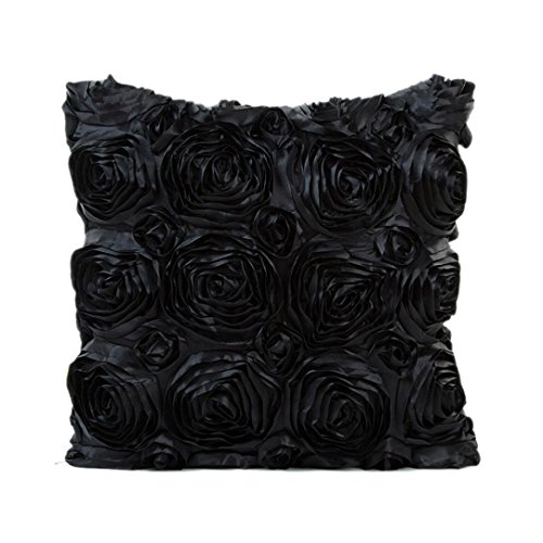 Indexp Rose Embroidery Throw Cushion Cover Sofa Home Decoration Pillow case (Black)