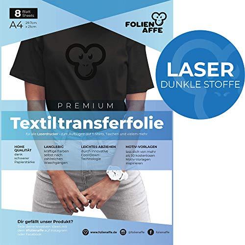 Laser Premium A4 T-Shirt Transferfolie für DUNKLE UND FARBIGE Textilien/Stoffe zum Aufbügeln - inkl. 50+ GRATIS Motiv-Vorlagen - Transferpapier geeignet für alle Laserdrucker