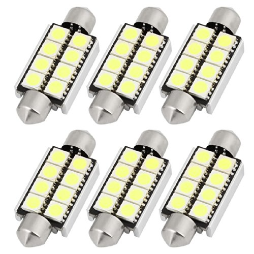 sourcingmap® 6pcs 42mm 5050 SMD 8 LED Lampe Canbus Feston Blanc Plafonnier 578 6429 Régie interne