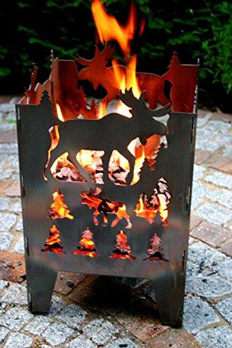 SvenskaV Feuerkorb Motiv Elch L 30,5 x 32 x 47 cm
