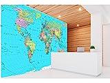 Fotomural Vinilo Pared Mapamundi Político Fondo Azul | Fotomural para paredes | Mural | Vinilo Decorativo | Varias Medidas 100 x 70 cm | Decoración comedores, salones, habitaciones...