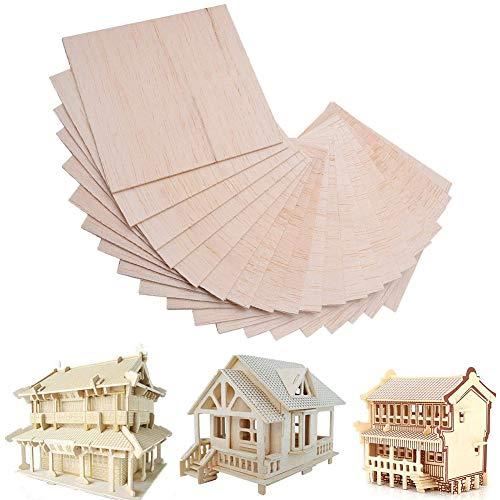 30 Stück Balsaholz Massivholz Balsabretter für DIY Flugzeugschiffe, Holzarbeiten, 100 mm x 100 x 1mm
