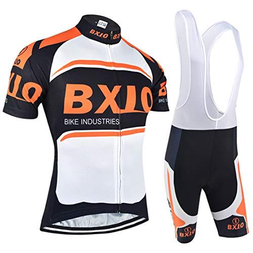 Männer Fahrradtrikot Set, Radsportanzug Atmungsaktiv mit Radhose mit 3D Sitzpolster für Fahrrad Rennrad, Braun (Orange Jerseys and Bibs, L) -