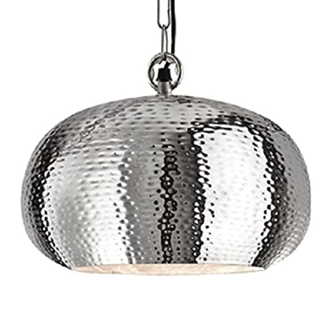 Searchlight Shiny Nickel Elipse Hammered Pendant Light with Chain Suspension Diameter 400mm,