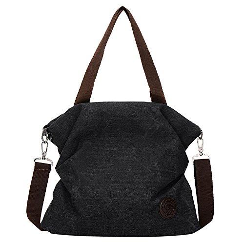 TianWlio Frauen Handtasche Canvas Handtasche Tote Messenger Strand Schulter Umhängetasche Schwarz