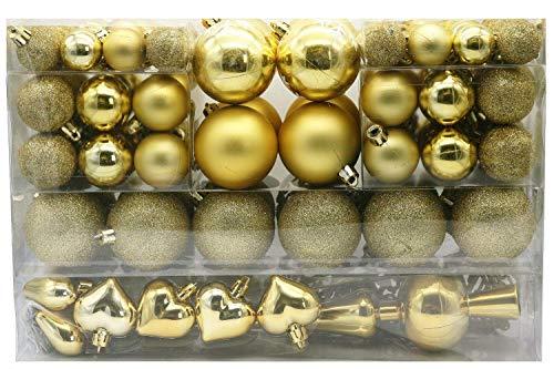 101 teilig Weihnachtskugel Herz Kugel mit Schneeflocke Christbaumspitze mit 100 Metallhaken Anhänger Baumschmuck Weihnachten (Gold)