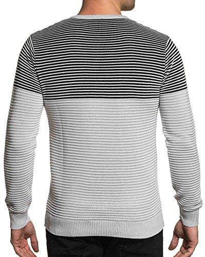 BLZ jeans - grauen und weißen Gelände Mann Pullover Mesh Grau