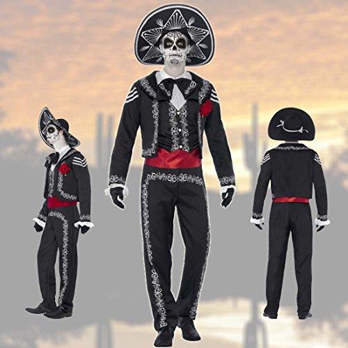 (NET TOYS Dia de los Muertos Kostüm Tag der Toten Herrenkostüm L 52/54 Totenfest Halloweenkostüm Mexikaner Kostüm La Catrina Sugar Skull Outfit Halloween Mariachi Männerkostüm)