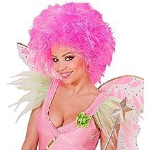 Peluca de hada o elfo color rosa neón postizo alborotado carnaval fiesta afro hippie
