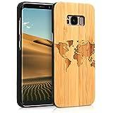 kwmobile Samsung Galaxy S8 Hülle - Handy Schutzhülle aus Holz - Cover Case Handyhülle für Samsung Galaxy S8 - Travel Umriss Design Hellbraun