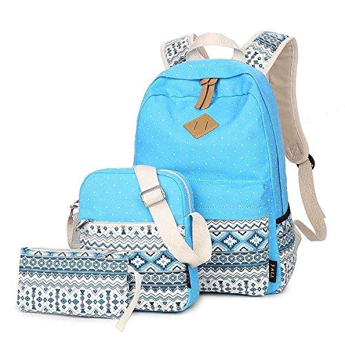 Fashion Mädchen Schulrucksack Damen Canvas Rucksack Teenager Baumwollstoff Schultasche Outdoor Freizeit Daypacks mit Schicker Lace