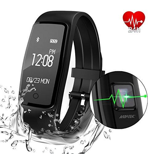 AGPtEK Herzfrequenz Fitness Tracker, Aktualisiert Aktivität Tracker mit mehreren Sportmodi, IP67 Wasserdichte Touchscreen Smart Pedometer für Android und IOS Smart Phone -
