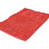 """shag-style chenilla alfombra de baño antideslizante baño ducha alfombrillas absorbentes Shaggy Rugs, 15.7""""x 23.6"""", Rojo, 50x80cm"""