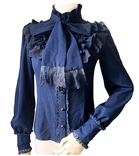 rinzessin Shirt Vintage Chiffon Shirt Langarm Spleißen Lace Bow Cosplay Kostüm Blau (EU40, CC374B) (Ariel Kostüme Für Frauen)