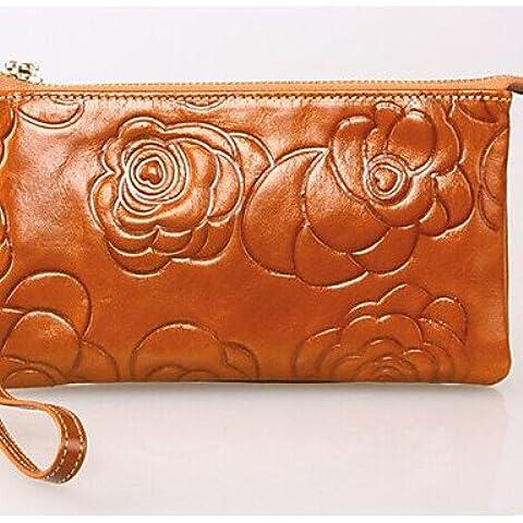 Da Wu Jia señoras bolso de lujo de alta calidad de cuero auténtico femenil de embragues de gran capacidad Monedero cremallera Floral Moda bolsos ,