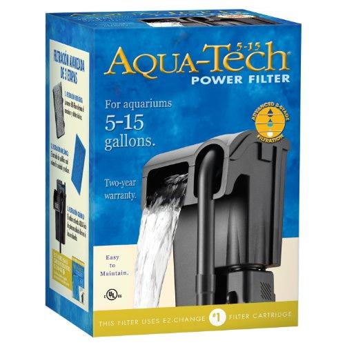Aqua-tech Power Aquarium Filter w/Filtration in 3Schritten, 5 to 15-Gallon, schwarz