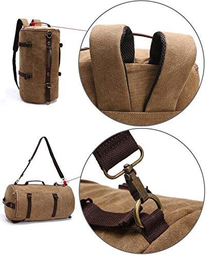 LF&F backpack 36-55 mit hohen Kapazität Rucksack rund bucket Beutel Schultern Bergsteigen Taschen Computer Schulranzen tragbar Schulter diagonal Paket Brown