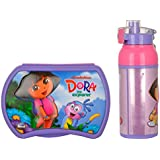 Jewel Selfi Clicker Character Lunch Box (Big) + Cool Splash Insulated Water Bottle (500ml) - Lunch Box And Water Bottle Set For Kids - (Dora)