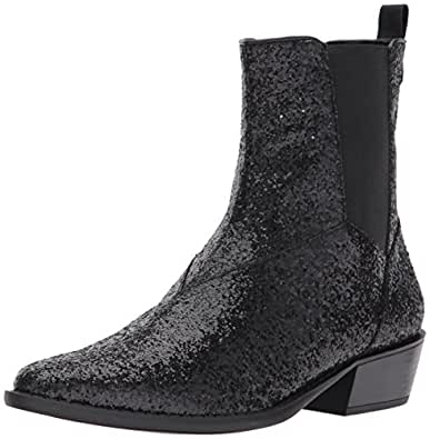 Katy Perry Women's The Ziggy Ankle Boot, Black Glitter, 6 Medium US