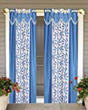 #10: BLUE FLOWER LIFE WINDOW curtains set of 2 pc