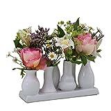 Keramikvasenset Blumenvase Keramikvasen bunt / weiß Vase Blumen Pflanzen Keramik Set Deko Dekoration (7 Vasen, weiß)