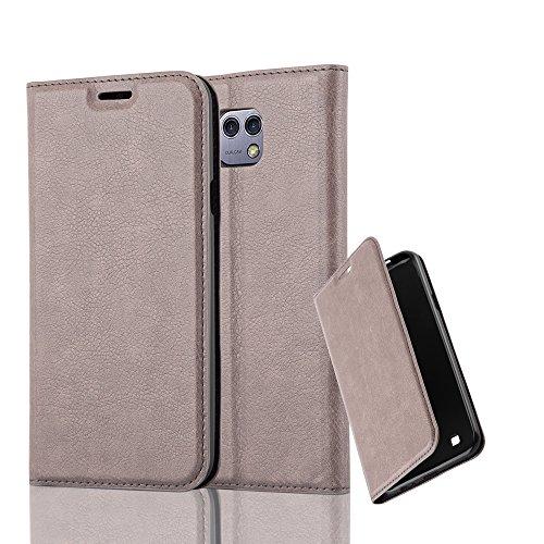 Cadorabo Hülle für LG X CAM - Hülle in Kaffee BRAUN - Handyhülle mit Magnetverschluss, Standfunktion & Kartenfach - Case Cover Schutzhülle Etui Tasche Book Klapp Style